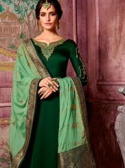 Green Georgette Satin Churidar Suit