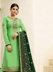 Green Georgette Satin Designer Pakistani Suit