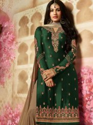 Green Georgette Satin Designer Pakistani Suit
