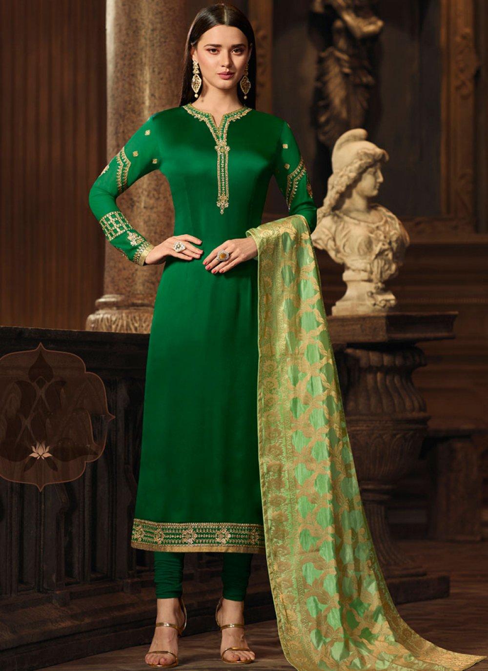 Green Georgette Satin Designer Straight Suit