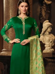 Green Georgette Satin Designer Straight Suit