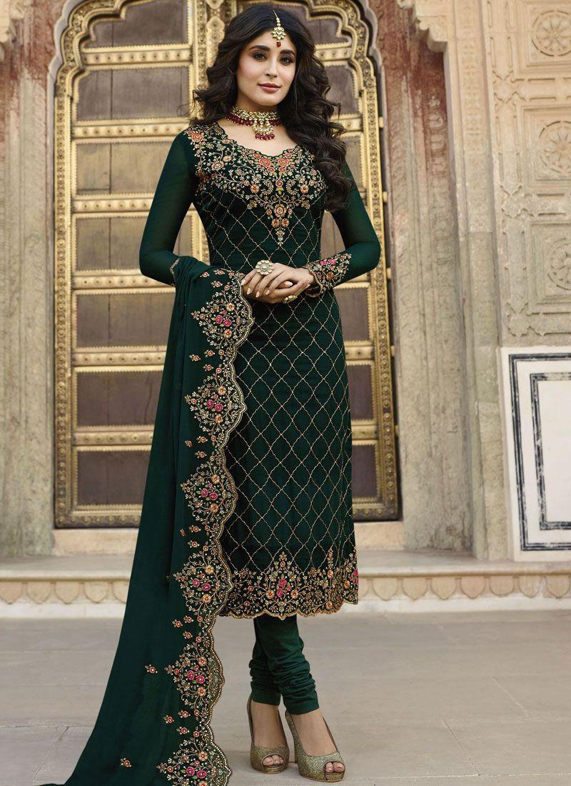 9c213443293 Buy Green Georgette Satin Embroidered Churidar Designer Suit   108366 -  Salwar Kameez