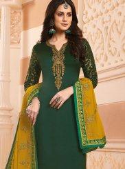 Green Georgette Satin Mehndi Designer Salwar Kameez