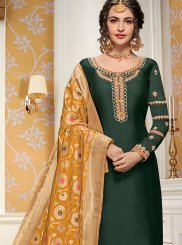 Green Georgette Satin Salwar Suit