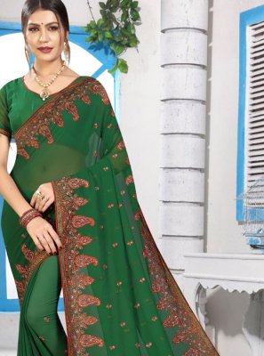 Green Georgette Stone Classic Saree