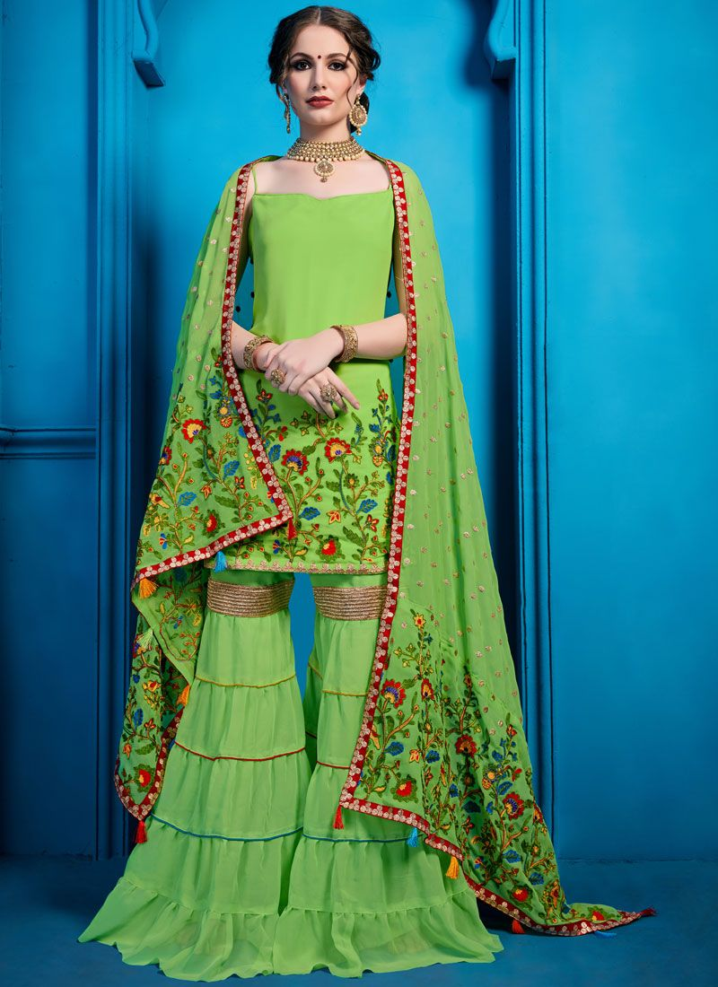 Green Georgette Thread Work Designer Pakistani Salwar Suit
