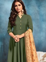 Green Handwork Art Silk Readymade Suit