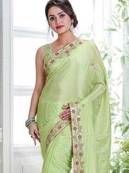 Green Handwork Faux Crepe Classic Designer Saree