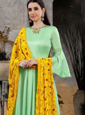 Green Handwork Maslin Cotton Anarkali Suit