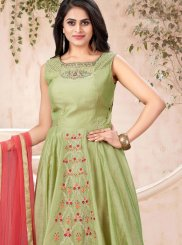 Green Handwork Readymade Trendy Gown