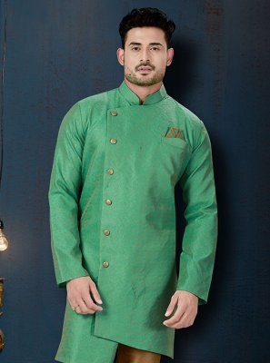 Green Jacquard Silk Embroidered Indo Western