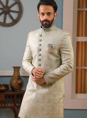 Green Jacquard Silk Sherwani