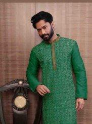 Green Jute Sangeet Kurta Pyjama