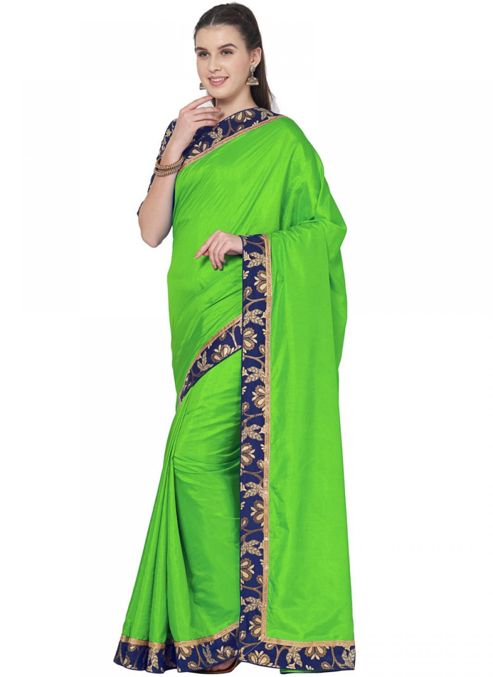 Green Lace Art Silk Traditional Saree