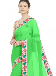 Green Lace Faux Chiffon Casual Saree