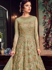 Green Lace Floor Length Anarkali Suit