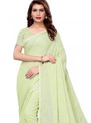 Green Linen Casual Saree