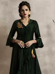 Green Linen Embroidered Party Wear Kurti