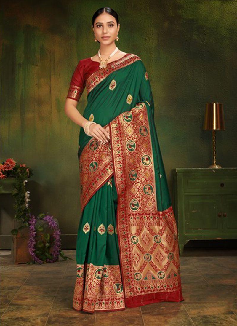 Green Machine Embroidery  Classic Designer Saree