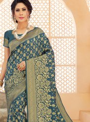 Green Mehndi Art Silk Designer Saree