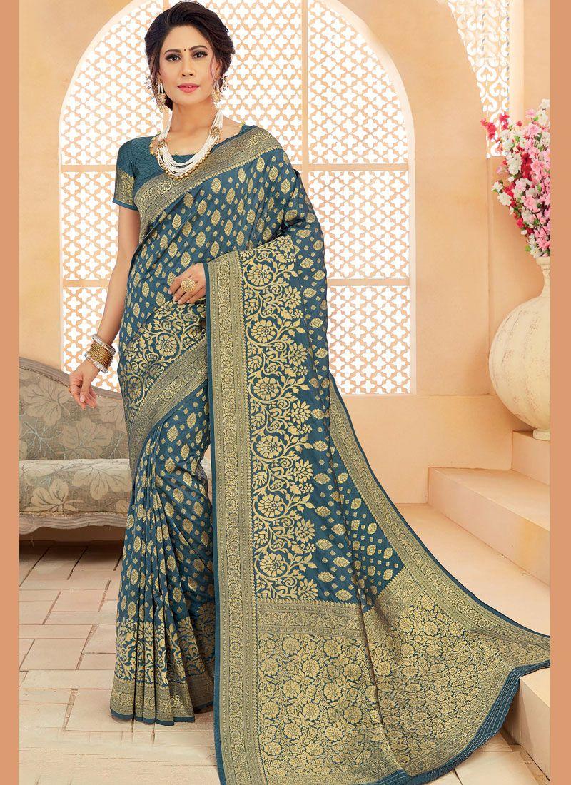 Green Mehndi Art Silk Designer Saree