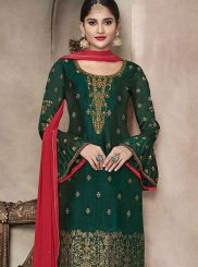Green Mehndi Banglori Silk Churidar Suit