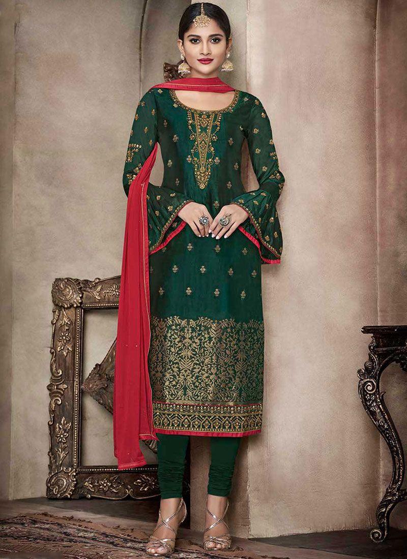 Green Mehndi Banglori Silk Churidar Suit