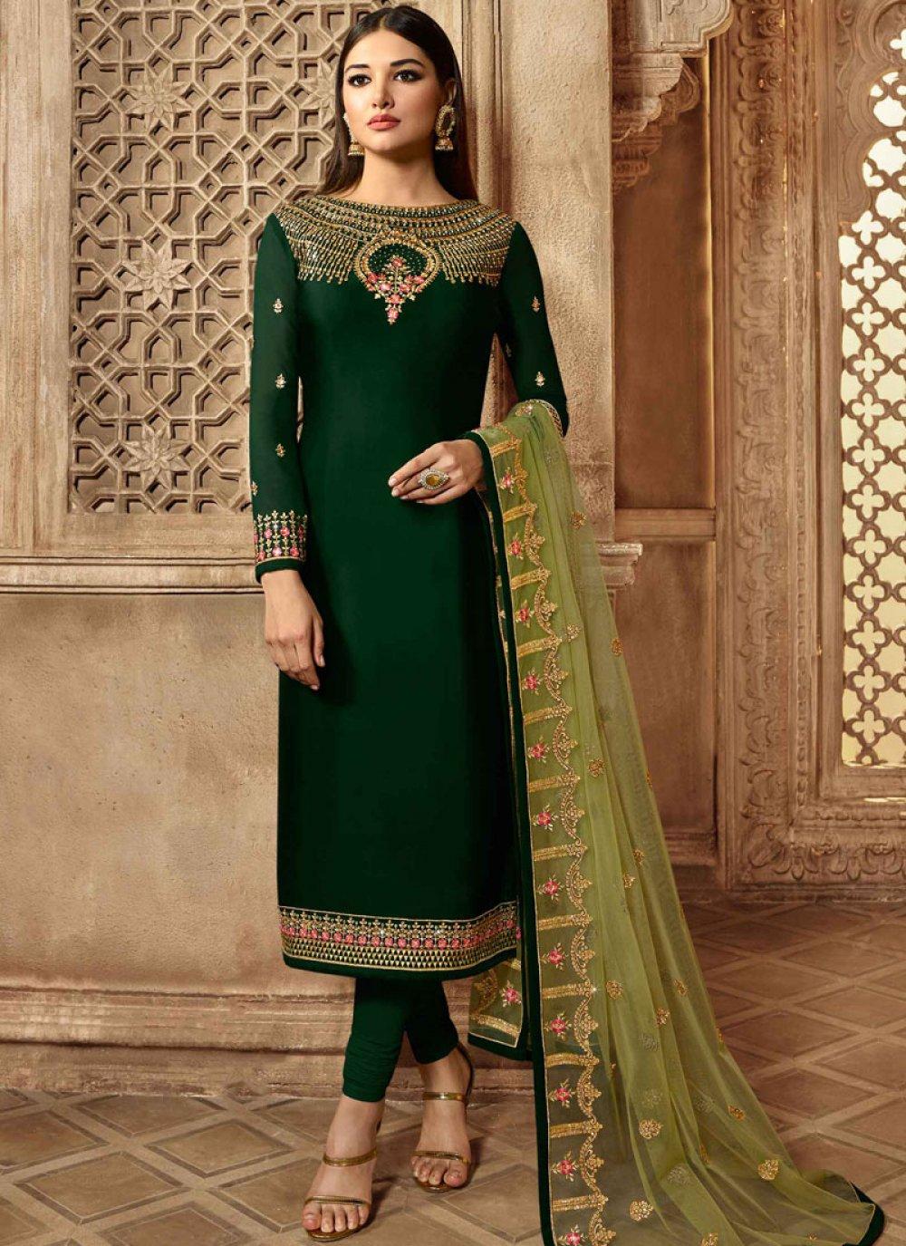 Green Mehndi Georgette Satin Churidar Designer Suit