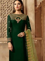 Green Mehndi Georgette Satin Churidar Designer Suit