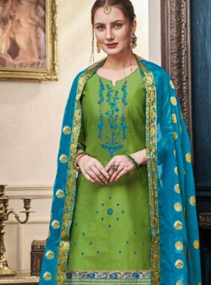 Green Mehndi Satin Designer Patiala Suit