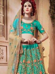 Green Mehndi Satin Silk Designer Lehenga Choli