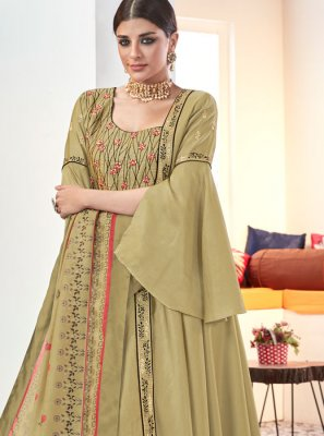 Green Muslin Embroidered Readymade Suit