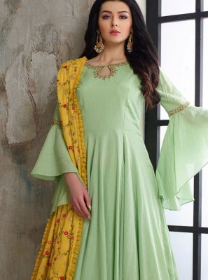 Green Muslin Readymade Anarkali Suit