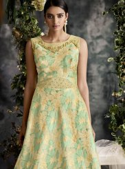Green Net Designer Gown