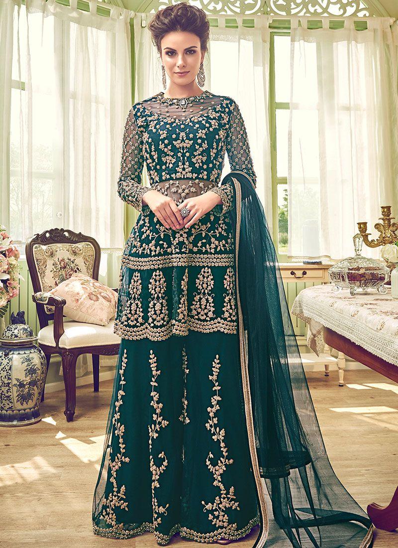 Green Net Designer Palazzo Salwar Kameez
