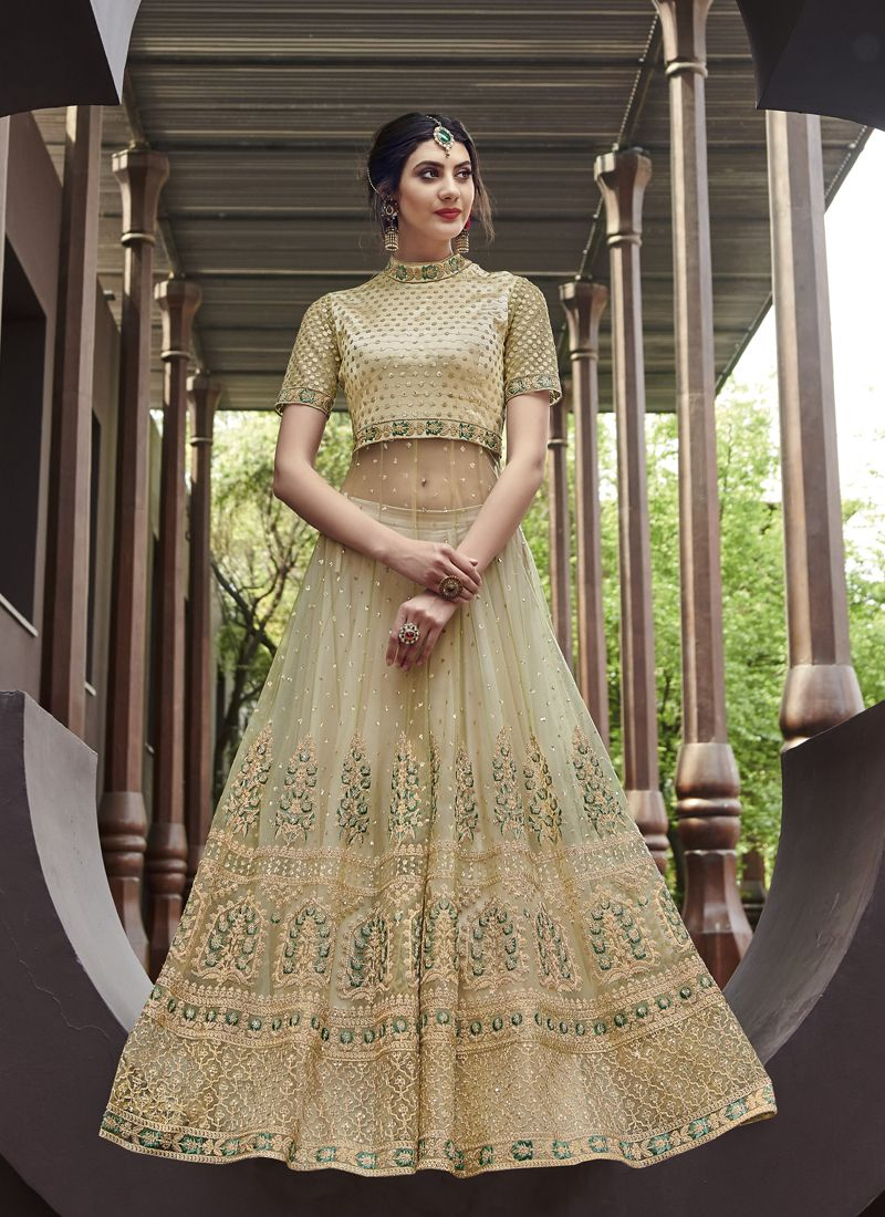 Green Net Mehndi Anarkali Salwar Suit