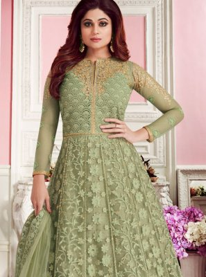 Green Net Mehndi Anarkali Salwar Suit