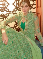 Green Net Reception Floor Length Anarkali Suit