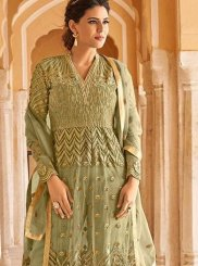 Green Net Wedding Floor Length Anarkali Suit