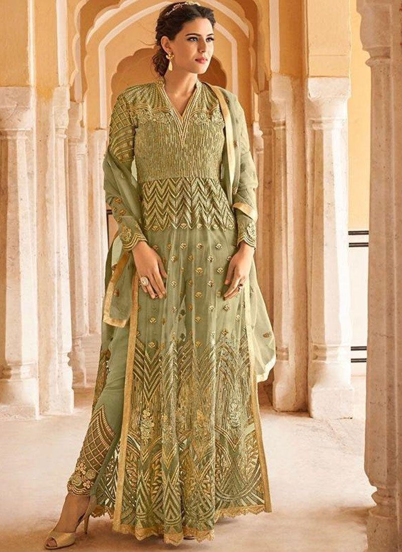 Green Net Wedding Floor Length Anarkali Suit
