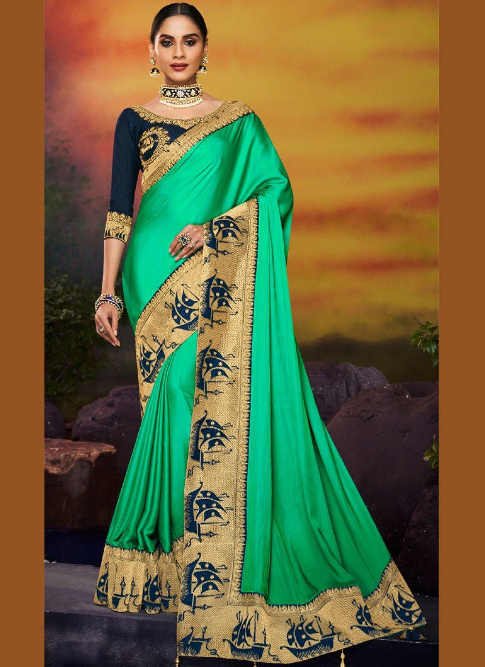 Green Party Art Silk Designer Traditional Saree