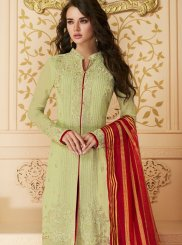 Green Party Faux Georgette Pant Style Suit