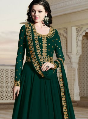 Green Party Floor Length Anarkali Suit