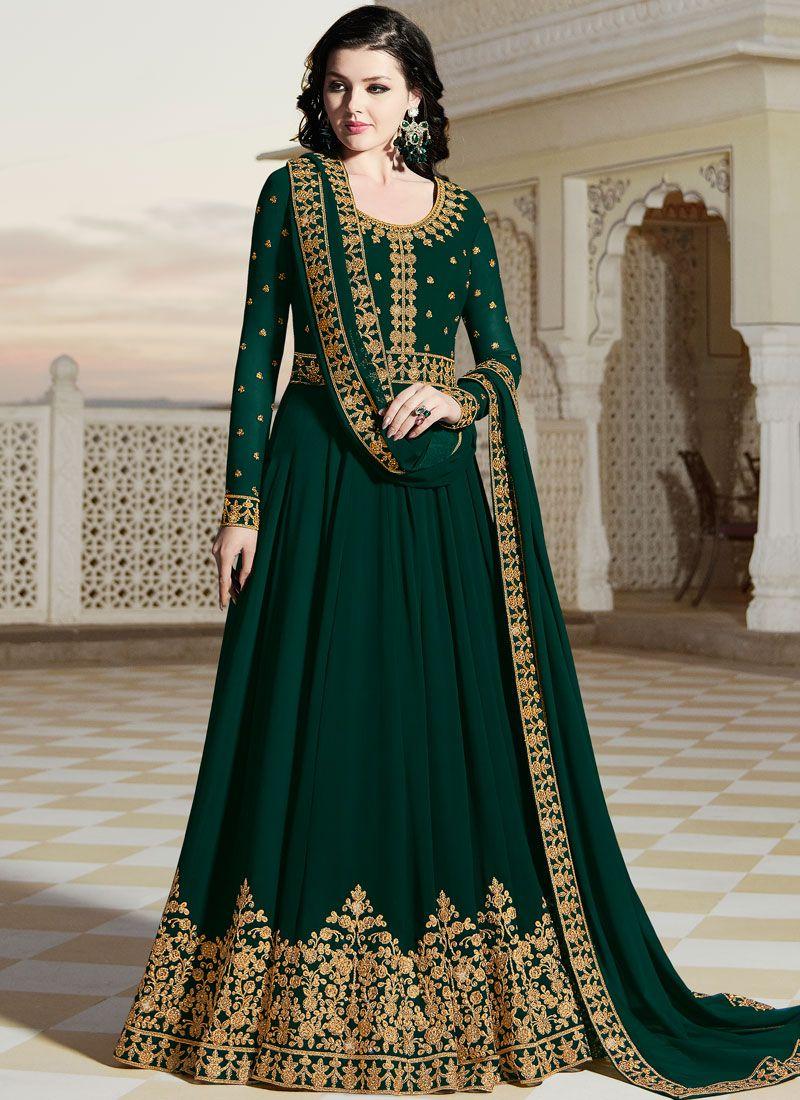 Green Party Floor Length Anarkali Suit
