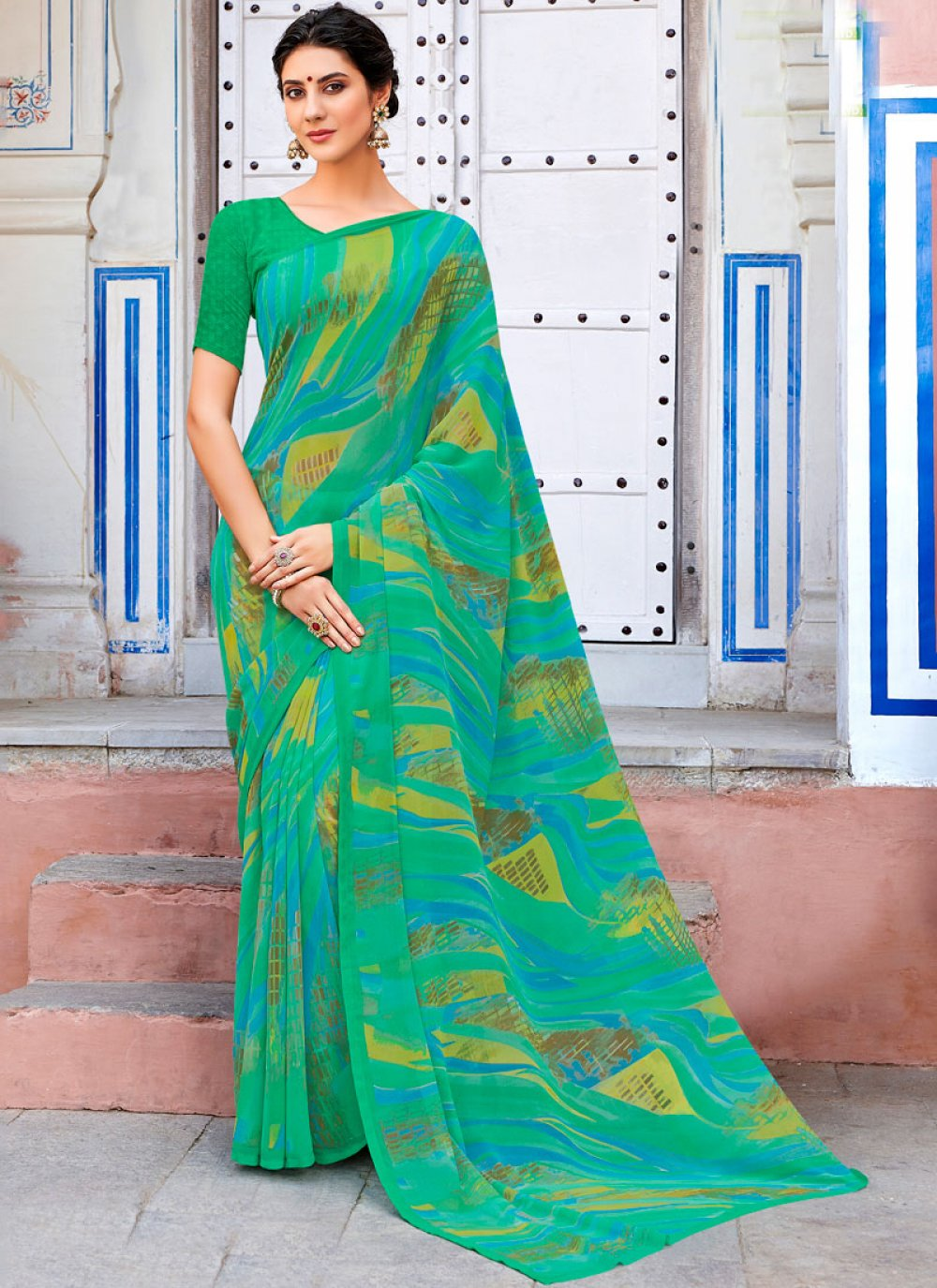 Green Party Georgette Casual Saree