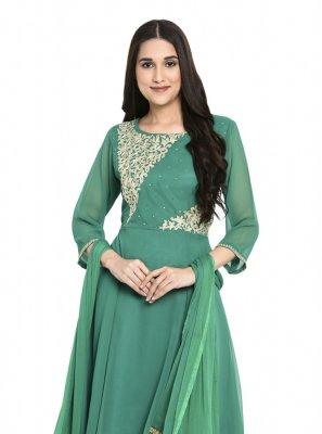 Green Party Georgette Readymade Salwar Kameez