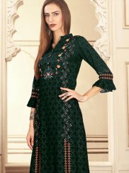 Green Party Rayon Designer Palazzo Suit