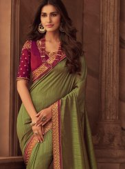 Green Patch Border Art Silk Classic Designer Saree