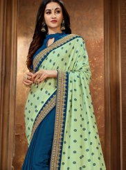Green Patch Border Art Silk Saree