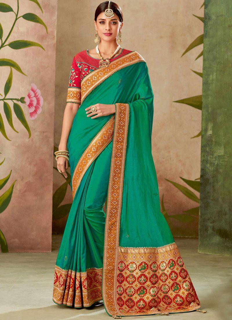 3af45c0f2f Green Patch Border Bridal Traditional Designer Saree buy online -